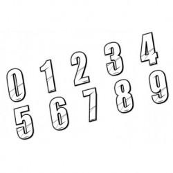 Stickers Numéros de plaque - WHITE 10 CM, Numéro: Numéro 2