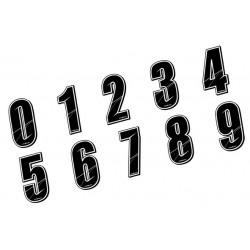 Stickers Numéros de plaque - BLACK 10 CM, Numéro: Numéro 1